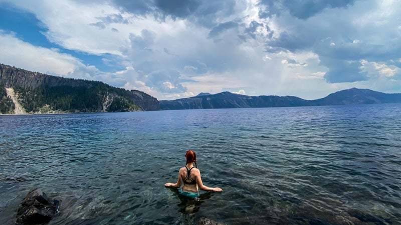 Swimming in the big blue void of Crater Lake