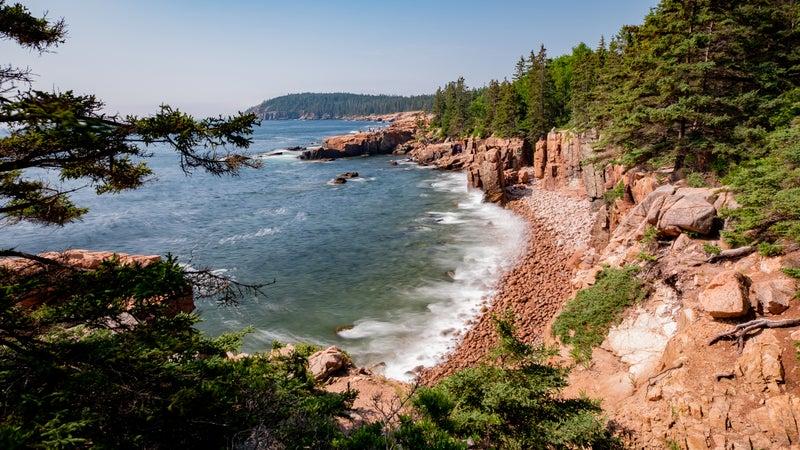 Coastline of Mount Desert Island, Maine (USA) on a beautiful summer day.