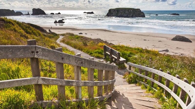 Wooden staircase leading to Bandon Beach, Oregon, USA