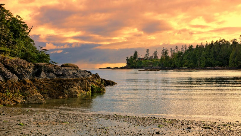 Sunset on the coast of Pacific Rim National Park, BC, Canada