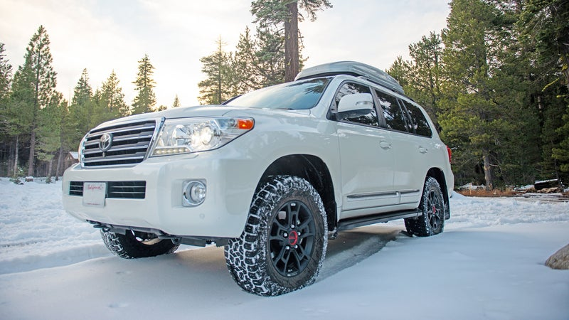 Bergeson's Land Cruiser, on the western side of the Sierra Nevadas' Rubicon Trail, wearing AT/IIIs
