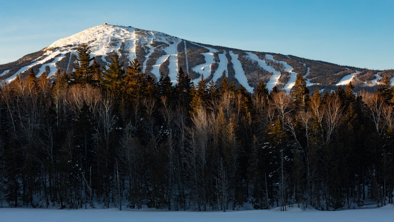 Sunrise over Sugarloaf Ski Mountain in western Maine.