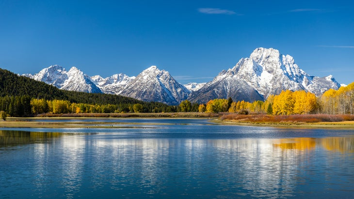 Mount Moran view from Oxbow Bend beside Snake River of Grand Teton, Wyoming
