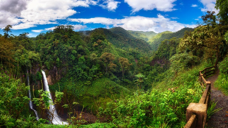 Catarata del Toro waterfall with surrounding mountains in Costa Rica