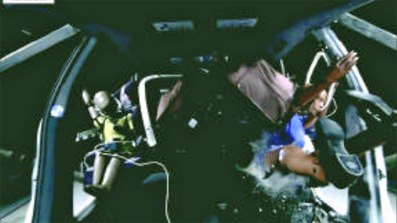 This photo was captured mid-test, from the dashboard facing rearwards, as the luggage penetrated the rear seats. Again, this replicates a crash of around 30 MPH, with four 50 pound suitcases.