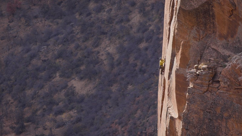 Jason Antin on a big wall in Zion National Park