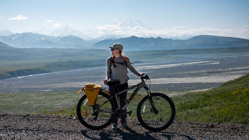 Pennington biking Denali's main road