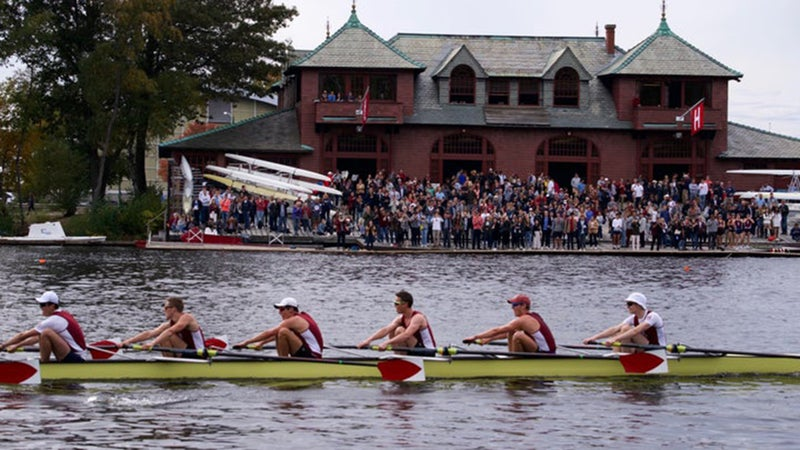 Deuel (third from right) rowing on the starboard side for Harvard during the Head of the Charles Regatta