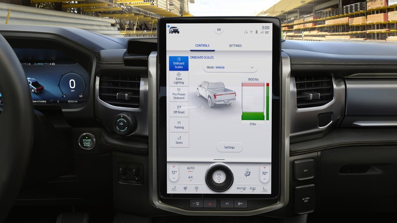 Optioned-up versions of the Lightning will feature a 15-inch screen on the dash, through which functions like home power control can be accessed.