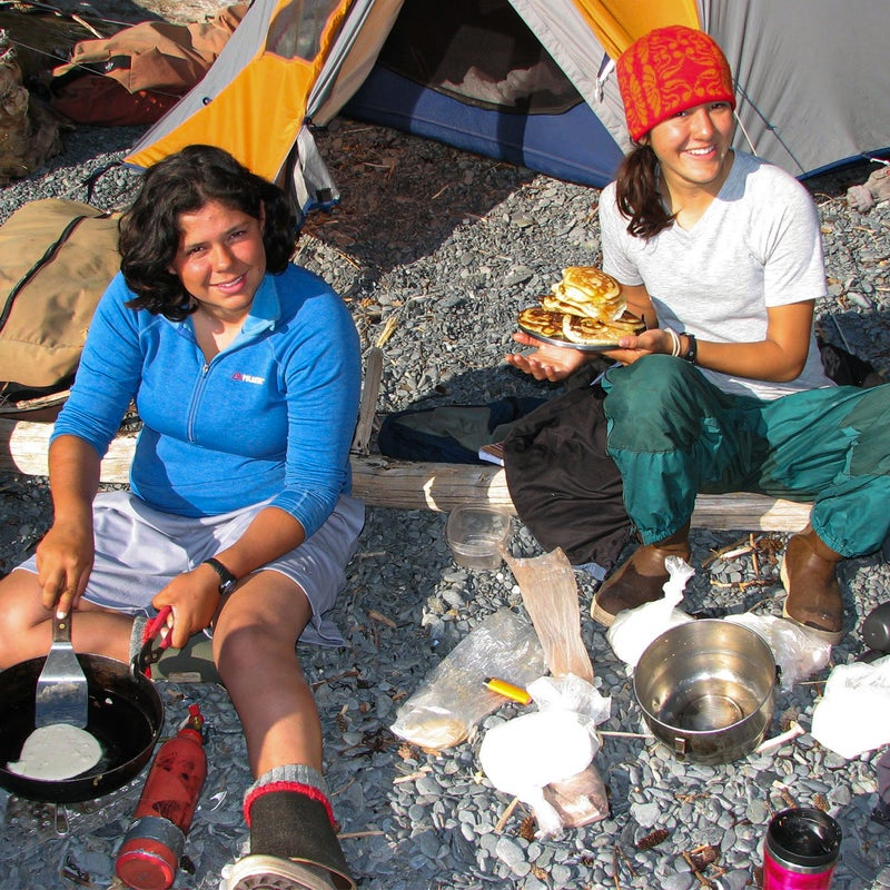 Making pancakes in Alaska on a NOLS trip