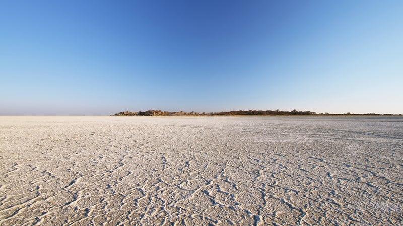 Salt lake around Kubu island in winter