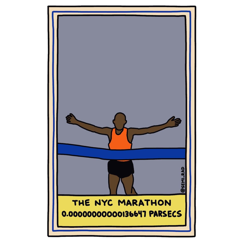 The NYC Marathon: 0.00000000000136647 Parsecs