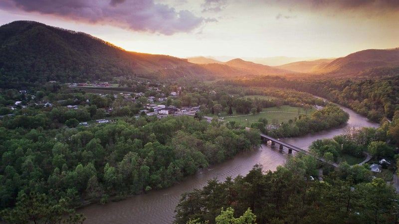 The view of the French Broad River and Hot Springs, North Carolina, from the trail