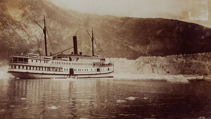 The packet steamer City of Seattle at Taku Glacier.