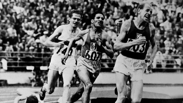 Czech Emil Zatopek leads during the Olympic 5000 meter race in Helsinki in 1952