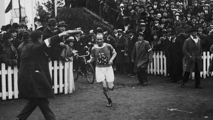 Hannes Kolehmainen wins the Olympic marathon in 1920.