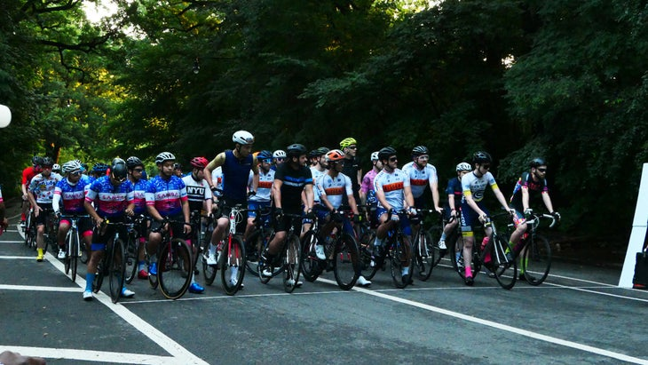Sanba cycling team at the start line of a race