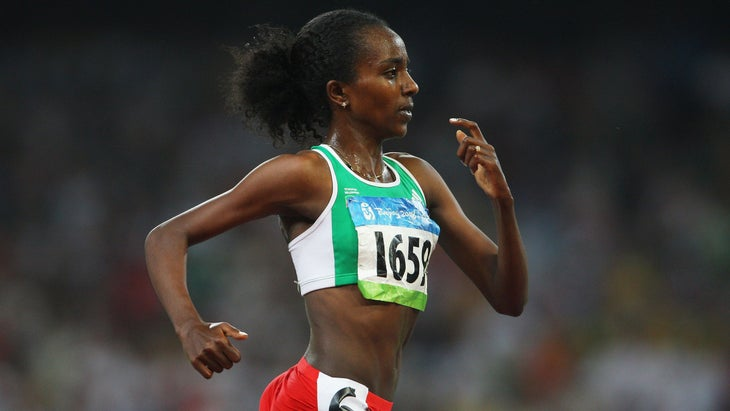 Tirunesh Dibaba Kenene competes in the 5000 meter final at the Beijing Olympics in 2008