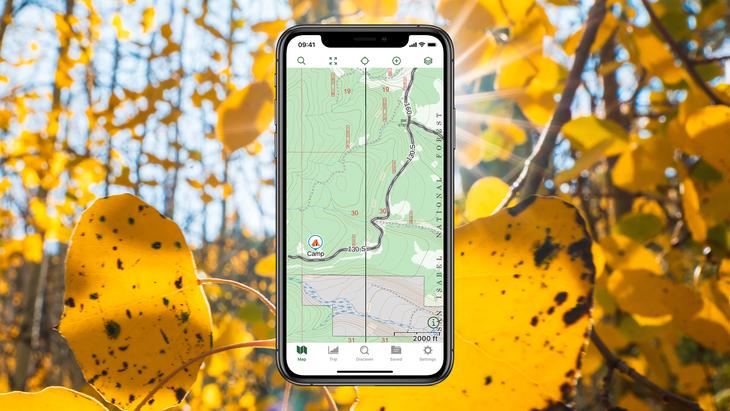 Screenshot of Gaia GPS with campsite waypoint.