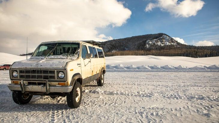 Van parked at Bluebird in Colorado