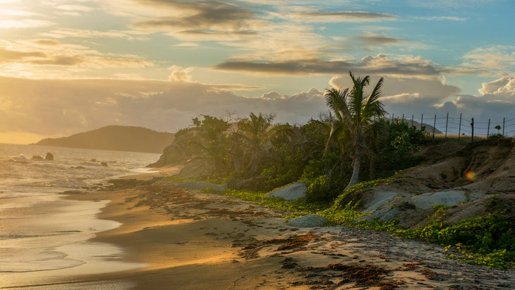 Sunset illuminates the golden sands of the west coast of the island of Vieques, a small isle to the east of Puerto Rico's main island.