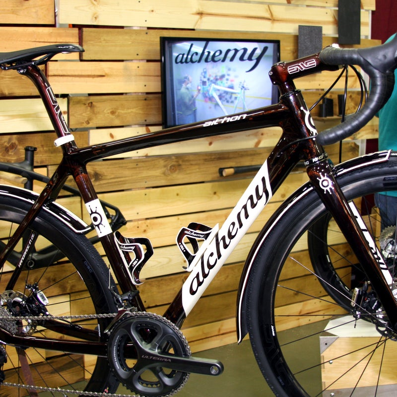 The carbon-fiber frame, fork, fenders, and bottle cages for this gravel racer were all made in house. The Aithon frame's front triangle is a mirror of its Helios road brother, but the rear triangle was completely redesigned to give the bike more compliance, acting as an inactive suspension. MSRP for this bike as shown would be about $12,000.