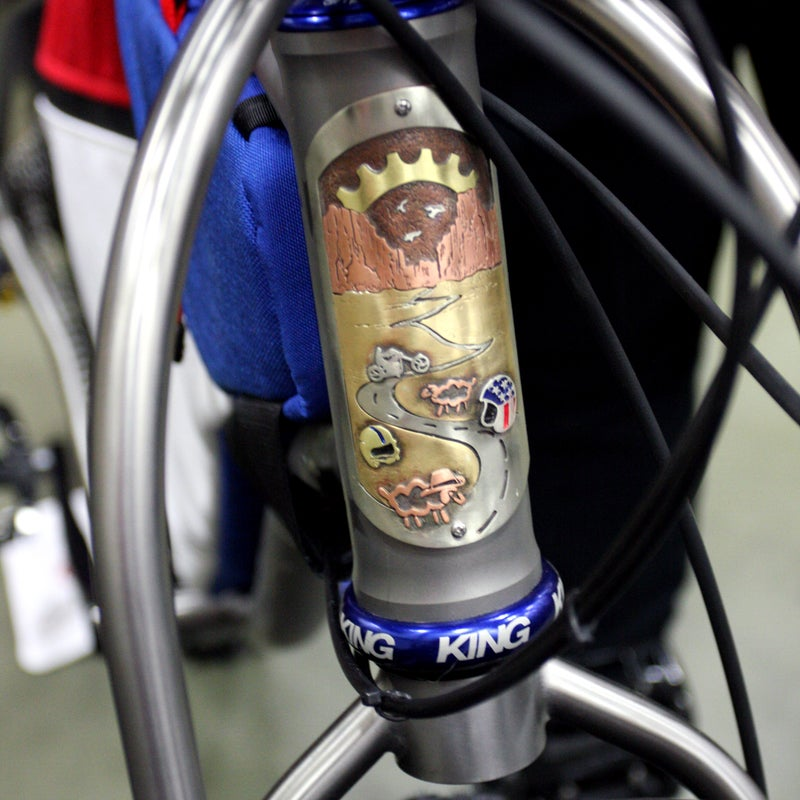 """A bike as unique as Black Sheep's adventure fat bike deserves a head badge just as original. Black Sheep co-owner James Bleakely commissioned Philadelphia jeweler Jen Green to create this Easy Rider-inspired head badge ($500). The bike's owner """"plans to roll around America and have fun, so it made sense,"""" Bleakley said. """"Like the movie, it's a little subversive, but part of America."""""""