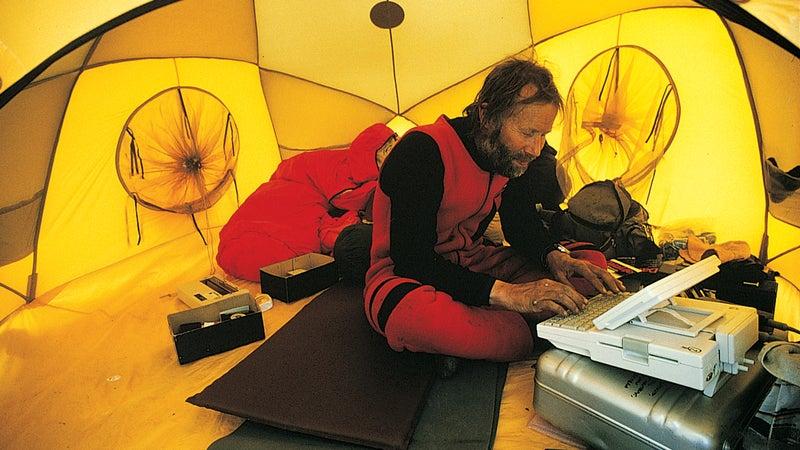 Chris Bonington at his Apple IIc.