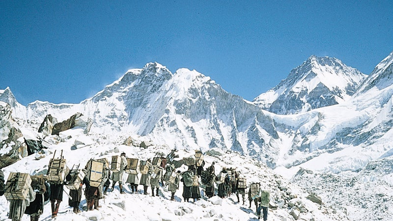 Over 350 porters slogged up to Base Camp in 1953 for Tenzing and Hillary's summit bid.