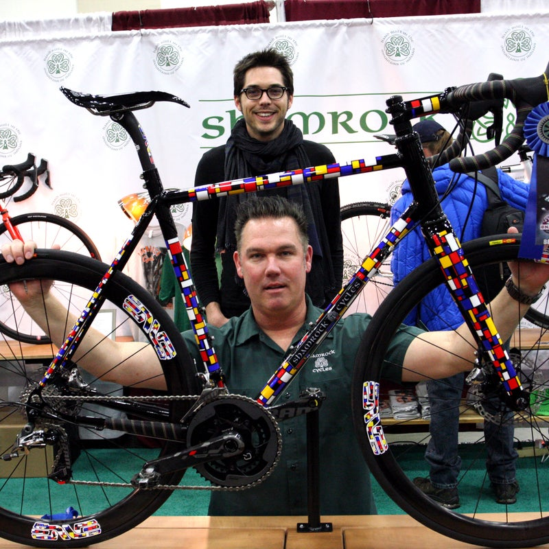Painters Michael Corby and Dan Young of Corby Concepts spent more than 80 painstaking hours on this Mondrian-inspired Shamrock Cycles road bike, ultimately winning Best Finish at the show.