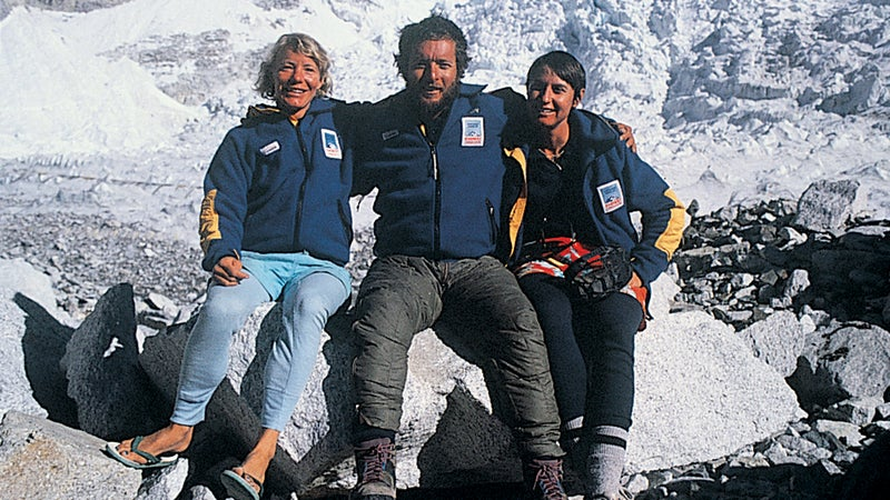 Stacy Allison (left), Geoff Tabin, and friend after summiting in 1988.
