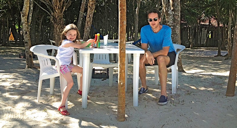 The author and his daughter at Chamico's, ranked #92 of 229 restaurants in Tulum, Mexico, on TripAdvisor.