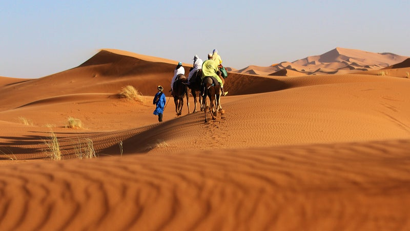 Heading to camp in the Sahara.