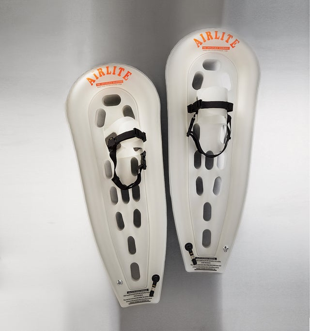 These inflatable snowshoes are perfect for outdoor emergencies.