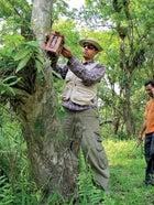Firoz Ahmed installing a camera