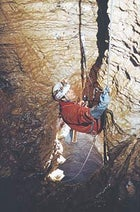 Going down: a Cavex explorer descends a new pitch in Krubera Cave en route to the 1,710-meter depth record