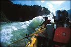 At play in the spray: Greg Findley at the helm on the Chico River.