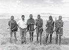 Mike Saitoti Ole Tiampati, second from left, with a band of Loita Hills Masai