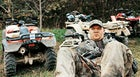 """Taking a breather after the """"Poker Run"""" at the Bear Wallow trailhead, and ATV devotee contemplates what photographer meat might taste like"""