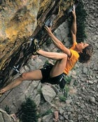 Hill scaling Your Mother, a 5.12d in El Dorado Canyon, Colorado, May 2001