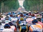 Traffic jam: TDF racers between Calais and Antwerp, July 2001