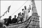Heyerdahl in 1969, at the launch of his papyrus-reed raft RA in Morocco
