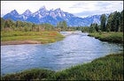 A grand day for a paddle: Snake River with the Tetons looming in the background