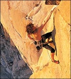 Potter on the 33rd Pitch of Freerider on El Captain. In September 2002, Potter knocked off this route after climbing Half Dome, completing an historic first: free-climbing both of these famously difficult walls in less than 24 hours.
