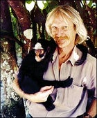 Hanging around: Van Roosmalen with a new spider monkey species from Mato Grosso, Brazil