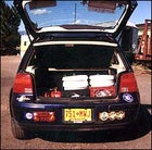 Kathy NiKeefe's VW Golf runs on recycled vegetable oil.
