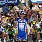 Tom Boonen winning the sprint.