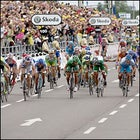 The peloton races to the finish line in Friday's Stage 7. Robbie McEwen snagged the win for his second in three days.