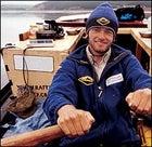 Cope takes a shift on the oars, Angara River, Siberia
