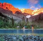 Life on the edge: cabins bordering Lake O'Hara, BC, Canada